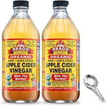 Bragg USDA Organic Raw Apple Cider Vinegar, With The Mother 16 Ounces Natural Cleanser, Promotes Weight Loss - Pack of 2 w/ Measuring Spoon