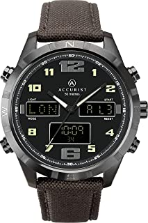 Accurist Watches For Men Stainless Steel Japanese Quartz Sports Chronograph Watch, World Time, Alarm, 99 year Calendar, St...