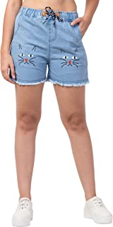 FUNDAY FASHION Blue Denim Wash Printed Shorts for Women