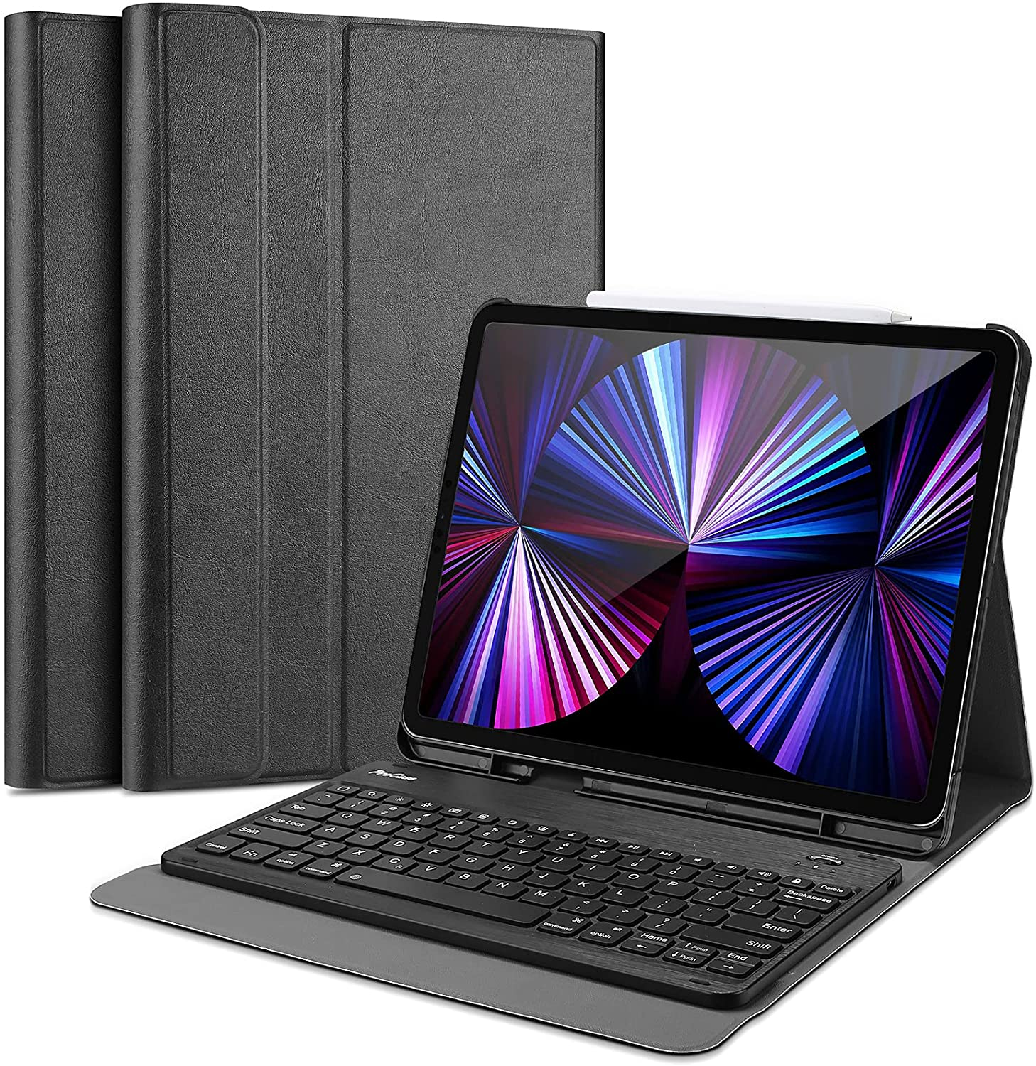 ProCase iPad Pro 11 Keyboard Case 2021 2020 2018, Slim Shell Lightweight Cover with Magnetically Detachable Wireless Keyboard and Pencil Holder for iPad Pro 11 Inch 3rd Gen / 2nd Gen / 1st Gen -Black