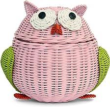 G6 COLLECTION Owl Rattan Storage Basket with Lid Decorative Bin Home Decor Hand Woven Shelf Organizer Cute Handmade Handcr...