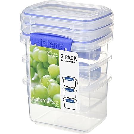 Sistema 1543 Boîtes Alimentaires isothermes, Plastique, Transparentes/Bleues, 400ml