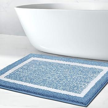 Amazon Com Rug Genius Original Large Memory Foam Bath Rug 20x32 Soft Absorbent Chenille Microfiber Bathroom Rug Cushioned Luxury Floor Mats Carpet For Bath Room Gray Blue White Stripe Kitchen Dining