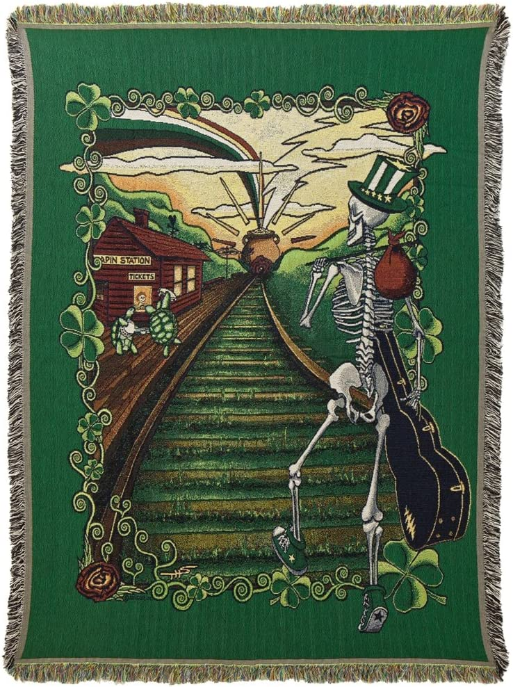 2021new shipping free shipping National products Little Hippie Grateful Dead Lucky Sam Cotton Black Blanket Woven