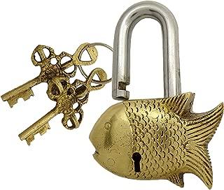 PARIJAT HANDICRAFT Functional Brass Beautiful Padlocks with Two Keys Home Decor Handcrafted Fish Padlock Brass Lock