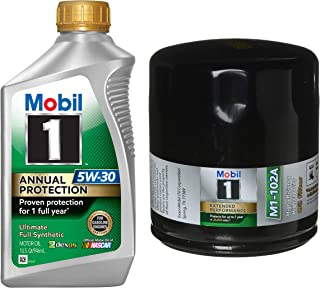 Mobil 1 Annual Protection Synthetic Motor Oil 5W-30, 1-Quart, Single Bundle M1-102A Extended Performance Oil Filter