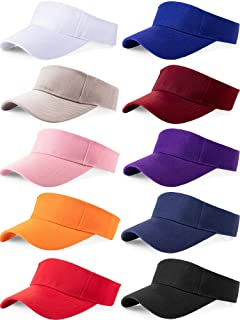 10 Pieces Sports Sun Visor Hats Adjustable Visor Cap Athletic Visor Hat for Men Women