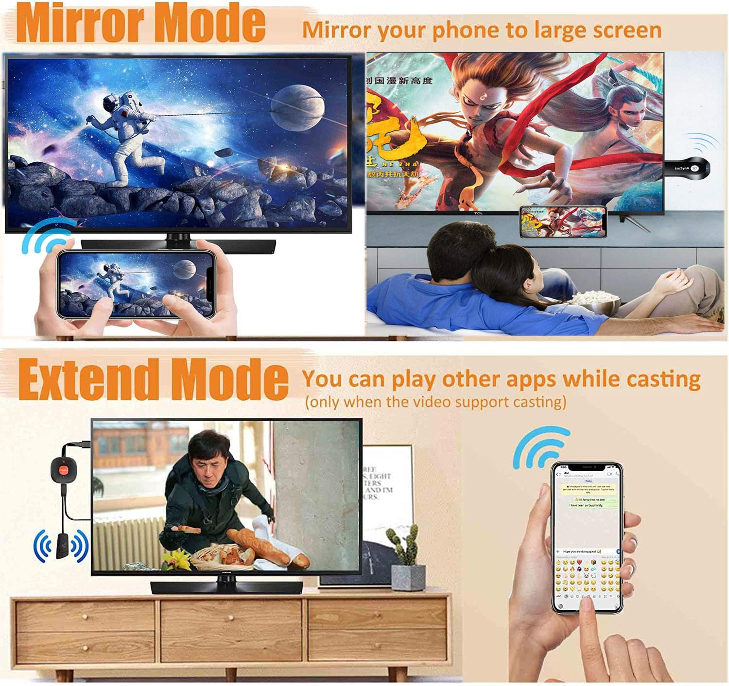 HDMI Wireless Display Adapter WiFi 1080P Mobile Screen Mirroring Receiver Dongle to TV//Projector Receiver Support Android Mac iOS Windows
