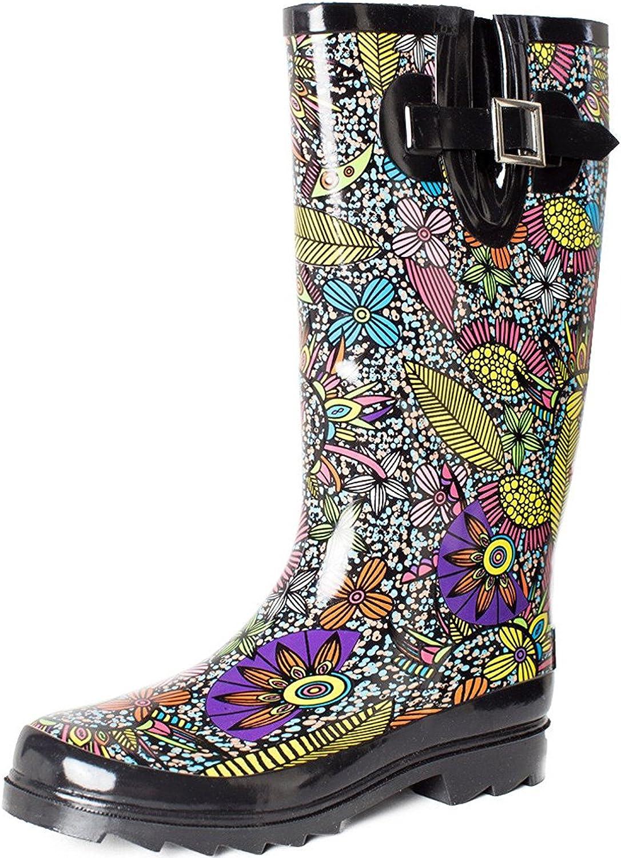 SheSole Women's Waterproof Rubber Garden Tall Rain Boot Mid Calf Floral Printed