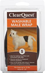 ClearQuest Washable Male Dog Wraps, Reusable, Leakproof Wetness Protection - Black