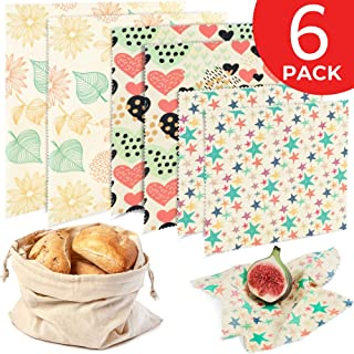 Reusable Beeswax Food Wrap 6 Pack - Eco Friendly Plastic Free Alternative to Saran Wrap - Biodegradable Bowl Cover, Sustainable Sandwich Wrappers - 2 Large, 2 Medium, 2 Small, 1 Cotton Produce Bag