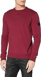 BOSS Mens Walkup 1 Logo-Badge Sweatshirt in Pure-Cotton Terry