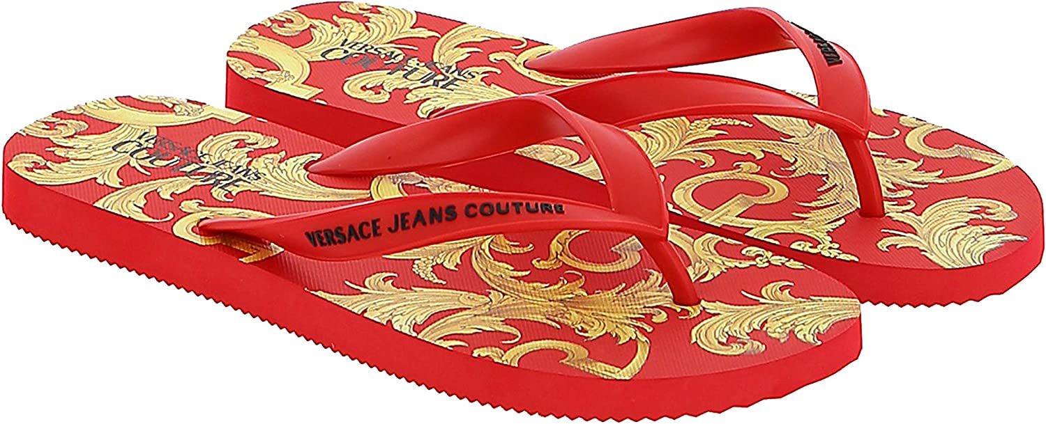 Versace Jeans Couture Red/Gold Baroque Print Flip Flop Slide for mens