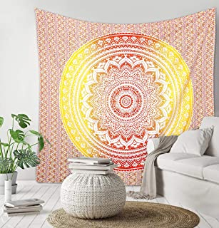 Madhu International Mandala Tapestry, Hippie Tapestries, Tapestries, Wall Tapestries, Ombre Mandala Tapestries, Boho Tapestries, Tapestry, Beach Sheet (Yellow Red, 54x60Inches / 140x155cms)
