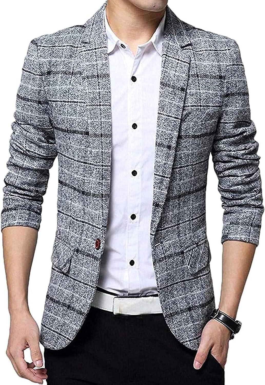 Mens Casual Plaid Print Center Vent 1 Button Linen Blazer Jacket Sport Coat
