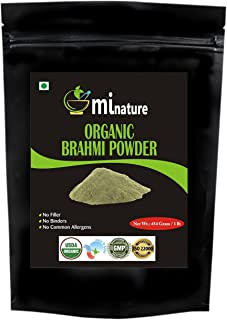 Organic Brahmi Bacopa Monnieri Powder - 1 lb16 oz454 gm USDA, Ayurvedic Herb Hair Growth and Brain Function, Resealable Pouch, Value Pack of a Pound 16 Ounce, Capsules Alternative