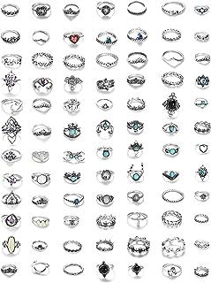 MILACOLATO 84 st midi-ring bohemiska knogringar set mode finger vintage silver stapelbara ringar för kvinnor flickor knogr...