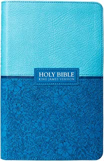 KJV Holy Bible, Giant Print Standard Bible, Two-Tone Blue Faux Leather Bible w/Ribbon Marker, Red Letter Edition, King James Version