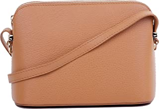 Genuine Italian Textured Leather Small Triangular Shoulder or Crossbody Bag. Includes Branded Storage Bag.