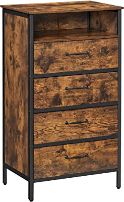 VASAGLE Chest of Drawers, 4 Drawer Dresser for Living Room with Open Shelf, Non-Woven Fabric Drawer with MDF Front, Steel Frame, Rustic Brown and Black URDD011B01