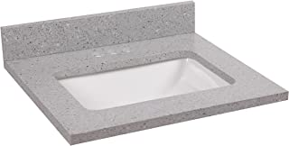 Design House 522011 Cultured Marble Single Faucet Hole Vanity Top 31 Solid White