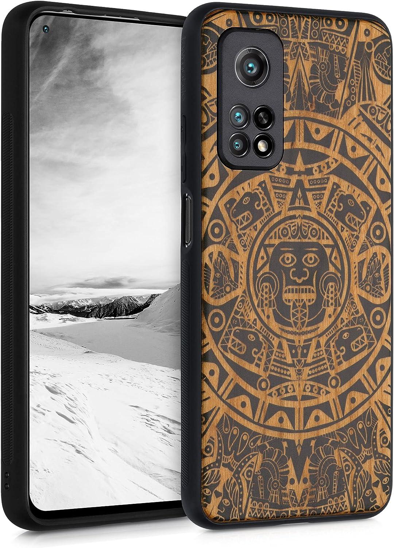 kwmobile Carcasa Compatible con Xiaomi Mi 10T / Mi 10T Pro - Funda de Madera de Cerezo con Bumper de Silicona Calendario Azteca