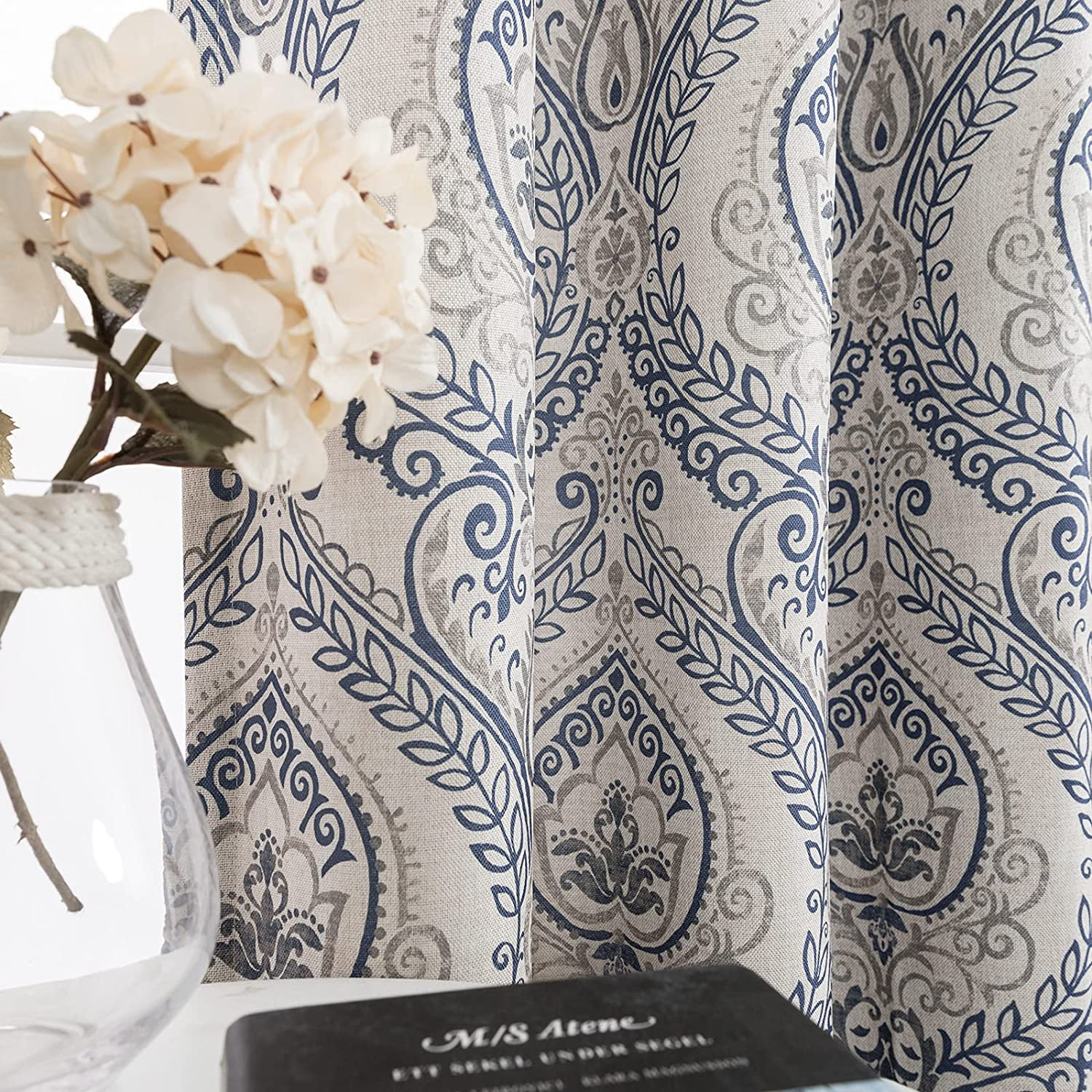 Jinchan Curtains Max 80% OFF Medallion Special Campaign Linen Textured for Ro Living