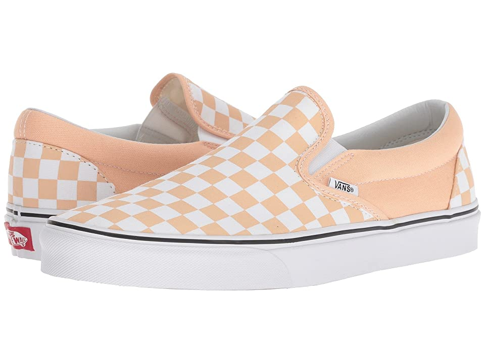 Vans Classic Slip-Ontm ((Checkerboard) Bleached Apricot/True White) Skate Shoes