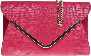 H&G Ladies animale Croc stampa busta piatta sera pochette - rosa