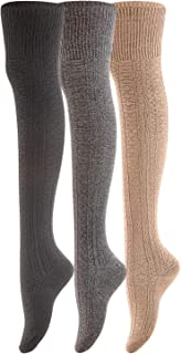 Lovely Annie Women's 3 Pairs Fashion Thigh High Cotton Socks J1025 Size 6-9(US)