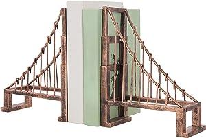 MyGift Vintage Bronze Metal Suspension Bridge Design Bookends, Set of 2