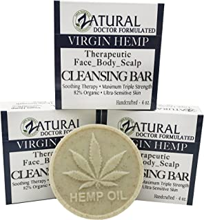 Hemp Bar Soap, 100% Natural Ingredients, Heal, Moisturize, and Cleanse. (3 Bars)