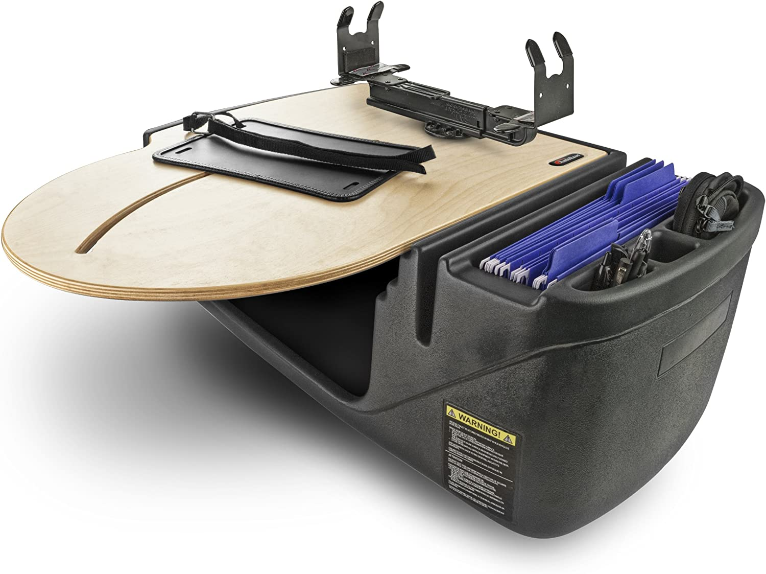 AutoExec AUE80022 Milk Crate Vehicle and Mobile Office Work Station with Apron Power Inverter and Phone Mount Laptop Tray