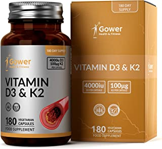 GH Vitamina D3 (4000iu) y Vitamina K2 (100μg) Capsulas   180 Cápsulas Vegetariano de Alta Resistencia   Para la Resistencia Ósea, Corazón Sano y el Apoyo Inmunitario   Sin OGM, Gluten o Lácteos