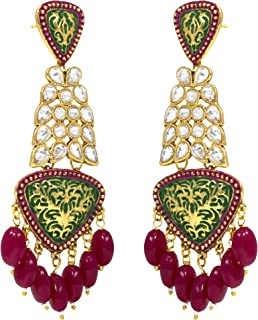 Jewelsiya Gold Plated Green Meenakari Long Dangler Indian Jewellery Earring For Womens And Girls