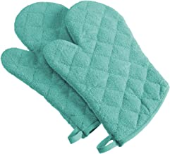 DII 100% Cotton, Terry Oven Mitts 7 x 13, Heat Resistant, Machine Washable for Everyday Kitchen Basic, Set of 2, Aqua