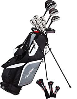 Precise M5 Men's Complete Golf Clubs Package Set Includes Titanium Driver, S.S. Fairway, S.S. Hybrid, S.S. 5-PW Irons, Putter, Stand Bag, 3 H/C's