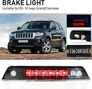 Sanzitop High Mount Stop Lights Led Third Brake Light Assembly Fit for 2005-2010 Jeep Grand Cherokee 55157397AD 55156389AF 55157397AA (Chrome Housing Clear Lens)