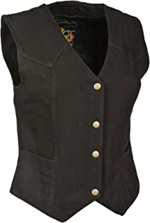 Milwaukee Women's 4 Front Snap Denim Vest (Black, Large) (14/12 OZ DEN)