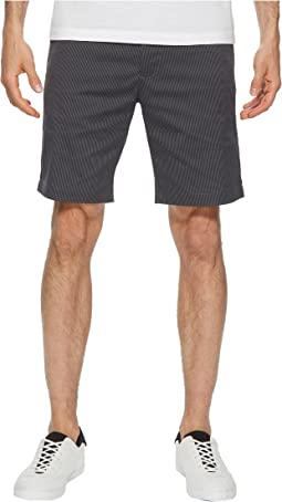 Flat Front Striped Twill Shorts