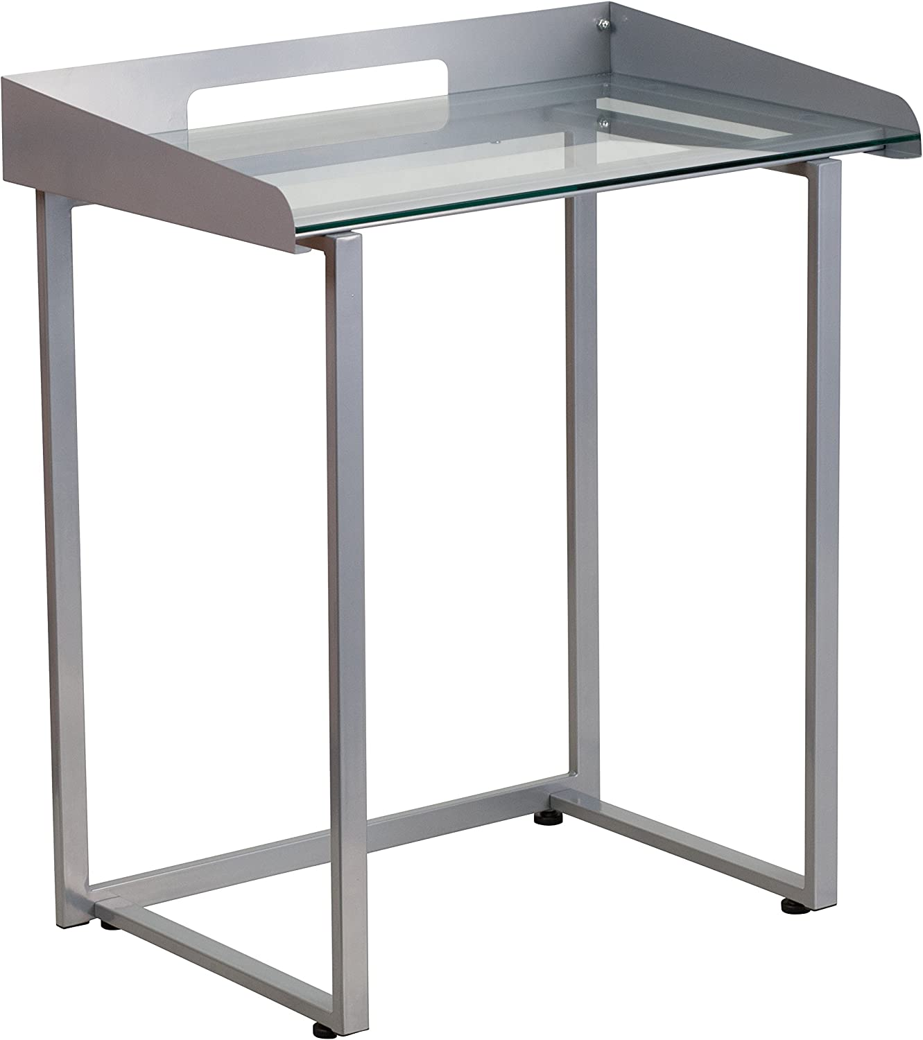 Flash Furniture Contemporary Desk with Clear Tempered Glass and Frame, Silver