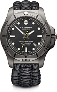 Victorinox Mens I.N.O.X. Titanium Swiss-Quartz Diving Watch with Nylon Strap, Black, 22