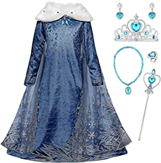 Niñas Cosplay Vestido de Princesa Elsa con Capa Vestido de Frozen Manga Larga Vestido Largo Disfraz Azul Dulce Disfraz Ceremonia de Fiesta Halloween Navidad 3-9 años 100-150cm