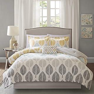 "Madison Park Essentials Central Park Comforter (Set), Queen(90""x90""), Leaf Yellow/Aqua"