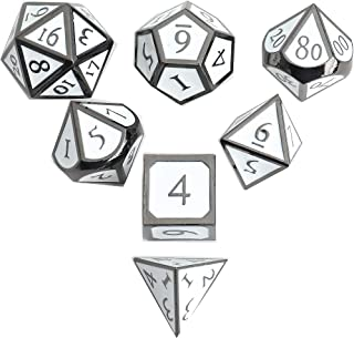DND Polyhedral Metal Game Dice Black and White 7pc Set for Dungeons and Dragons RPG MTG Table Games D4 D6 D8 D10 D12 D20