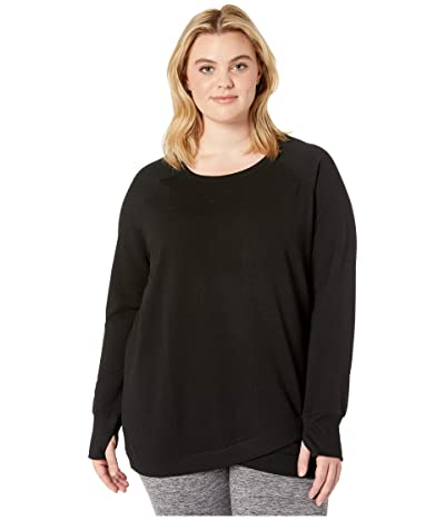 Jockey Active Plus Size R R Crisscross Fleece Tunic (Deep Black Solid) Women