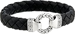 Classic Chain 12mm Ring Clasp Bracelet in Black Leather