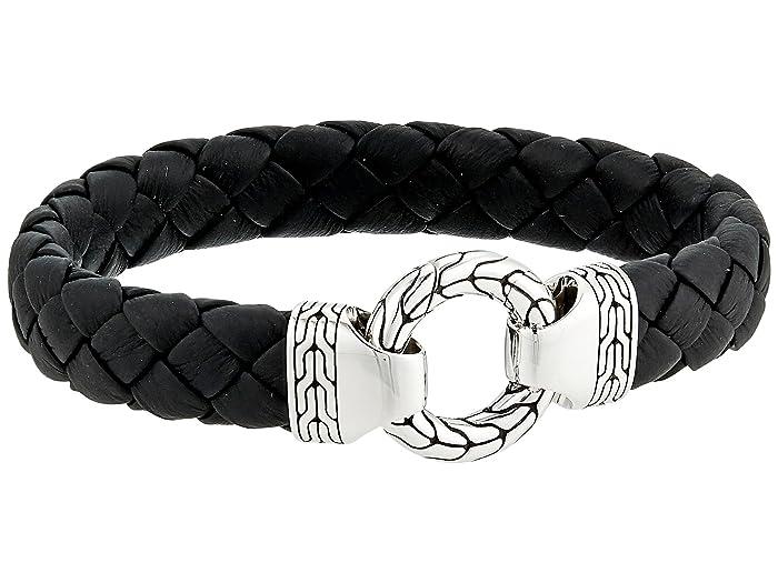 John Hardy  Classic Chain 12mm Ring Clasp Bracelet in Black Leather (Silver) Bracelet