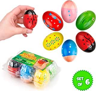 IPIDIPI TOYS Funky Egg Shakers Maracas for Kids 6-Pack Natural, Wooden Toy Percussion Instruments - Fun, Colorful Sound Making Shakers - Assorted Easter Designs for Girls, Boys