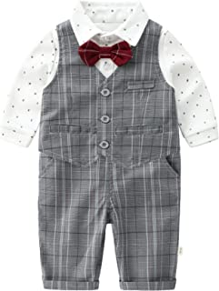Newborn Baby Boys Gentleman Outfits Suits, Infant Long Sleeve Shirt+Vest+Pants+Bow Tie+Suspender Overalls Clothes Set